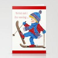 ski Stationery Cards featuring Ski Boy by iCraftCafé