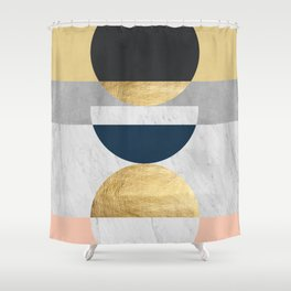 Marble and gold circle Shower Curtain