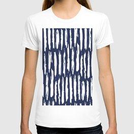 Vertical Dash White on Navy Blue Paint Stripes T-shirt