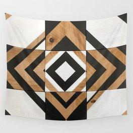 Modern Wood Art, Black and White Chevron Pattern Wall Tapestry
