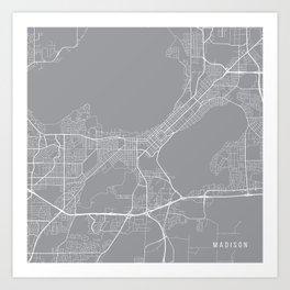Madison Map, Wisconsin USA - Pewter Art Print