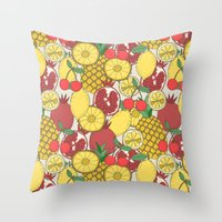 fruit Throw Pillows featuring Fruit by Valendji