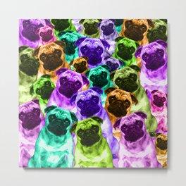 Colorful  Pug Pattern Metal Print