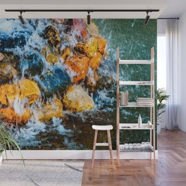 Water Runs Over Colorful Wet Stones Wall Mural