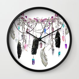 Raven Feathers And Roses Crystal Spirit Gazer Wall Clock