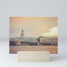 Saint Petersburg cityscape over Neva river in sunset, Russia Mini Art Print