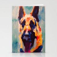 german shepherd Stationery Cards featuring German Shepherd by Heather Hartley