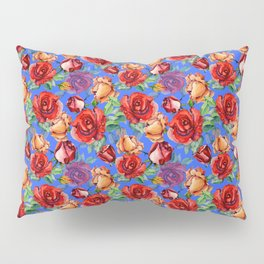 Modern red blue watercolor hand painted botanical roses Pillow Sham