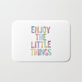 Enjoy the Little Things Watercolor Rainbow Design Inspirational Quote bedroom Wall Art Home Decor Bath Mat