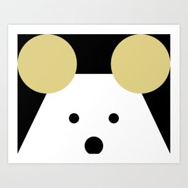Peek-a-Boo Mouse with Gold Ears Art Print