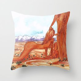 Arches National Park - Erotic Nature Couple Painting Throw Pillow