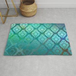 """""""Turquoise Ocean Damask Pattern"""" Rug"""