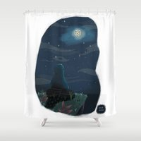 cookie monster Shower Curtains featuring Cookie monster by David Pavon