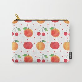 Summer orange red watercolor fruit polka dots pattern Carry-All Pouch