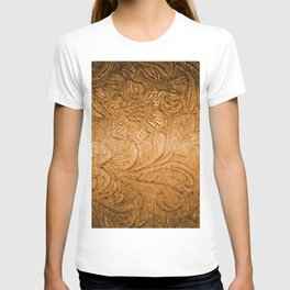 Golden Tan Tooled Leather T-shirt
