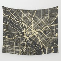 dallas Wall Tapestries featuring Dallas map by Map Map Maps