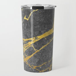 Matte black marble with gold Travel Mug