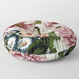 Vintage Peony and Ipomea Pattern - Smelling Dreams Floor Pillow