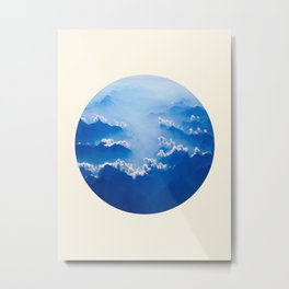 Mountains With Their Company Of Clouds Circle Photo Metal Print