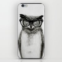 square iPhone & iPod Skins featuring Mr. Owl by Isaiah K. Stephens