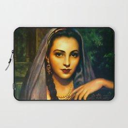 Jesus Helguera Painting of a Calendar Girl with Dark Shawl Laptop Sleeve