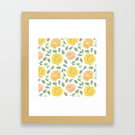 Hand painted yellow coral watercolor modern floral Framed Art Print