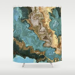 Vibrant Marble Texture no2 - Cobalt Blue and Gold Shower Curtain
