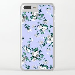 Vintage lavender white emerald green floral Clear iPhone Case