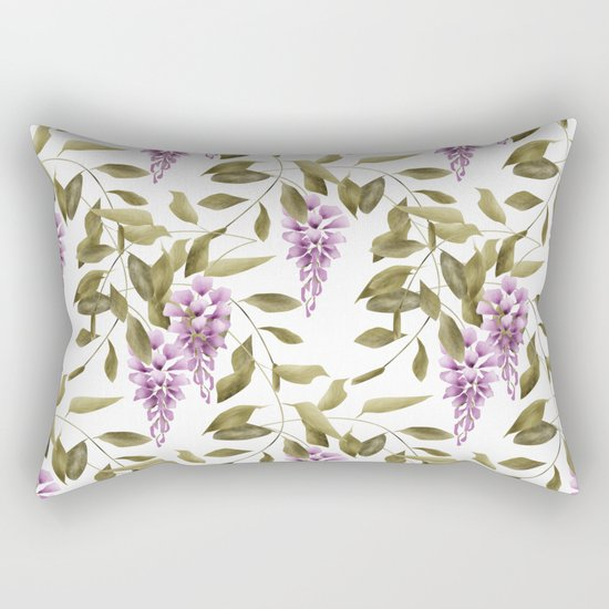 The Branches Of Wisteria .  White background . Rectangular Pillow