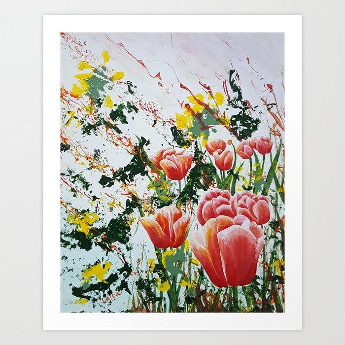 Edge of a tulip garden Art Print
