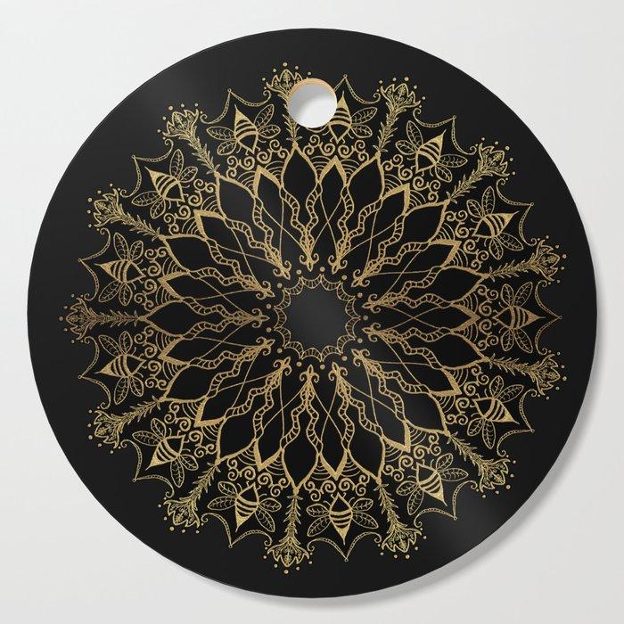Golden Bee Mandala Cutting Board