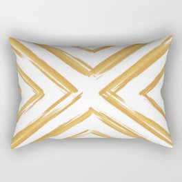 Minimalistic Gold Paint Brush Triangle Diamond Pattern Rectangular Pillow