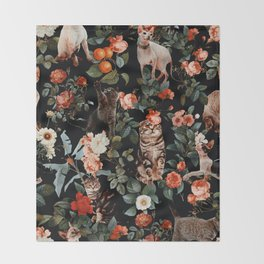 Cat and Floral Pattern II Throw Blanket