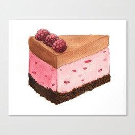 Raspberry Ice Cream Cake Slice Canvas Print