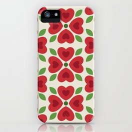 Christmas Heart Flowers iPhone Case