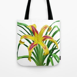 Daylily Solo - Hemerocallis 'Free Wheelin' on white Tote Bag