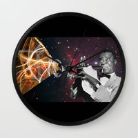 louis armstrong Wall Clocks featuring Louis Light (Digital Collage) by Jeff Taylor