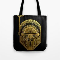 gold foil Tote Bags featuring Mandala BobaFett - Gold Foil by Spectronium - Art by Pat McWain