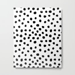 Preppy black and white dots minimal abstract brushstrokes painting illustration pattern print  Metal Print