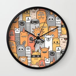 Monsters & Friends in Orange Wall Clock