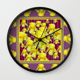 SEA OF YELLOW IRIS IN PUCE-PURPLE PATTERN ART Wall Clock