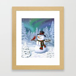 Cute Happy Christmas Snowman with Birds Framed Art Print