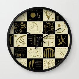 Kandinsky - Black and Gold Pattern - Abstract Art Wall Clock
