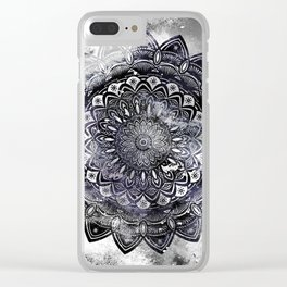 Galaxy Space Mandala (Black and White & Gray Scale) Mystical Adventurous Clear iPhone Case