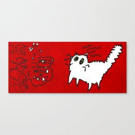 White Cat, friend or food? Canvas Print