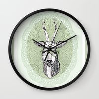 hippie Wall Clocks featuring Hippie Deer! by Sagara Hirsch