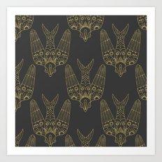 Gold Bird Pattern Art Print