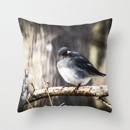Judging Junco Throw Pillow