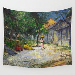 1887 - Gauguin - Village in Martinique (Femmes et Chevre dans le village) Wall Tapestry
