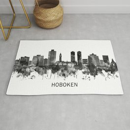 Hoboken New Jersey Skyline BW Rug